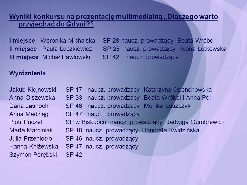 Wyniki konkursu na prezentację multimedialną Dlaczego warto przyjechać do Gdyni? I miejsce Weronika Michalska SP 28 naucz. prowadzący Beata Wróbel II
