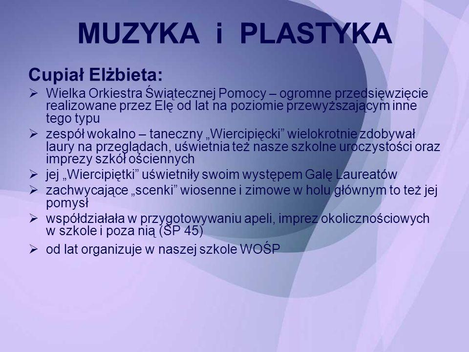 JĘZYK POLSKI Hanna Czatyris i Violetta Jasinowska: zorganizowały i przeprowadziły konkurs recytatorski dla uczniów klas IV – VI, w jury tego konkursu zasiadała również Maria Stój.