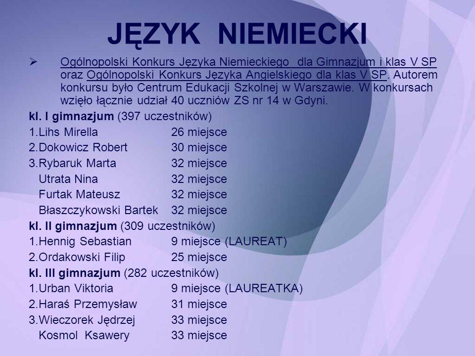 Ogólnopolski Konkurs Języka Niemieckiego dla Gimnazjum i klas V SP oraz Ogólnopolski Konkurs Języka Angielskiego dla klas V SP. Autorem konkursu było