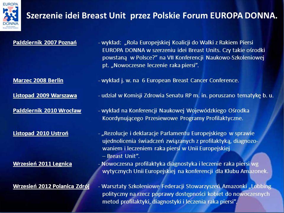 Październik 2007 Poznań- wykład: Rola Europejskiej Koalicji do Walki z Rakiem Piersi EUROPA DONNA w szerzeniu idei Breast Units.