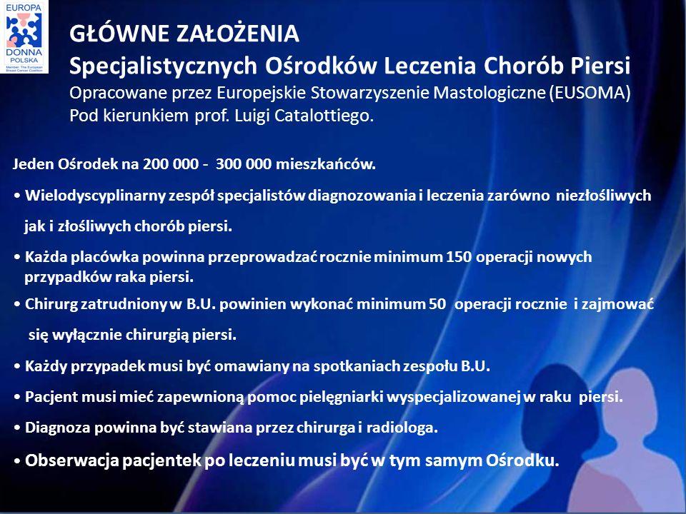GŁÓWNE ZAŁOŻENIA Specjalistycznych Ośrodków Leczenia Chorób Piersi Opracowane przez Europejskie Stowarzyszenie Mastologiczne (EUSOMA) Pod kierunkiem prof.