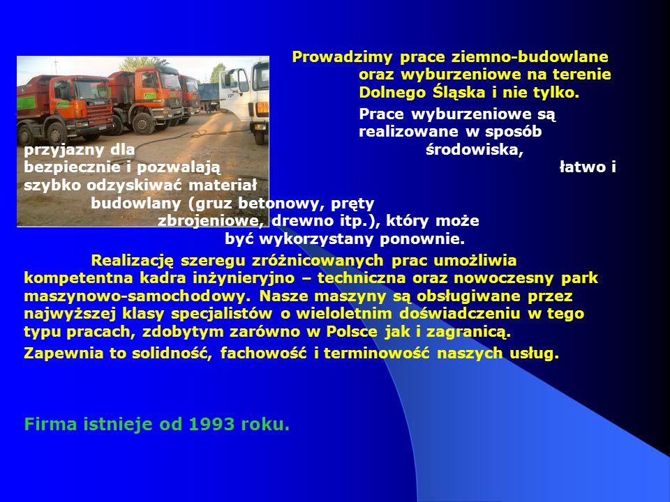 Prowadzimy prace ziemno-budowlane oraz wyburzeniowe na terenie Dolnego Śląska i nie tylko. Prace wyburzeniowe są realizowane w sposób przyjazny dla śr
