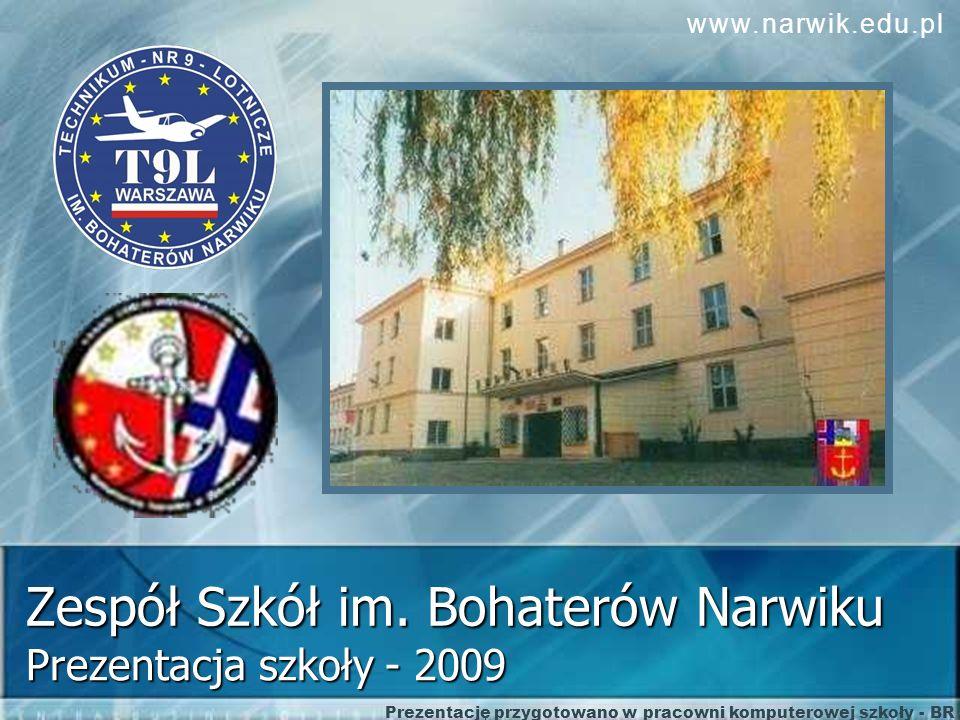 Zespół Szkół im. Bohaterów Narwiku Prezentacja szkoły - 2009 Prezentację przygotowano w pracowni komputerowej szkoły - BR www.narwik.edu.pl