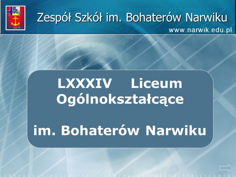 Zespół Szkół im. Bohaterów Narwiku www.narwik.edu.pl LXXXIV Liceum Ogólnokształcące im. Bohaterów Narwiku