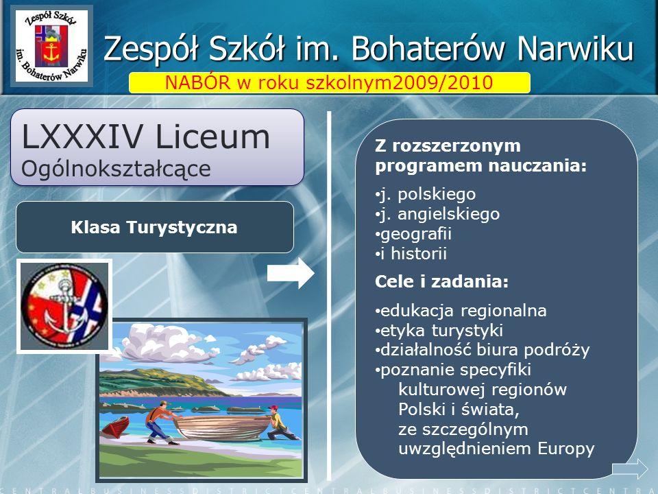 Zespół Szkół im. Bohaterów Narwiku LXXXIV Liceum Ogólnokształcące LXXXIV Liceum Ogólnokształcące Klasa Turystyczna NABÓR w roku szkolnym2009/2010 Z ro