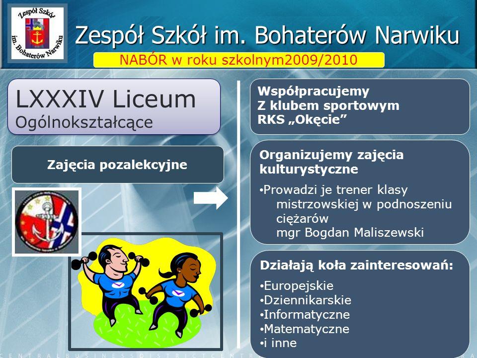 Zespół Szkół im. Bohaterów Narwiku LXXXIV Liceum Ogólnokształcące LXXXIV Liceum Ogólnokształcące Zajęcia pozalekcyjne NABÓR w roku szkolnym2009/2010 W