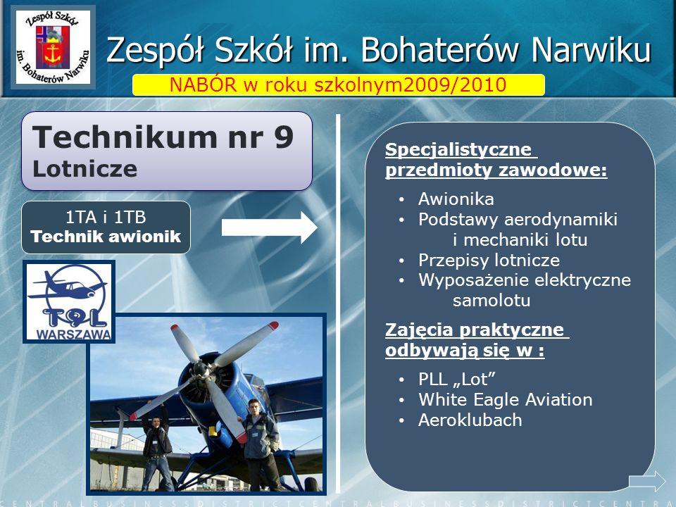 Zespół Szkół im. Bohaterów Narwiku NABÓR w roku szkolnym2009/2010 Specjalistyczne przedmioty zawodowe: Awionika Podstawy aerodynamiki i mechaniki lotu