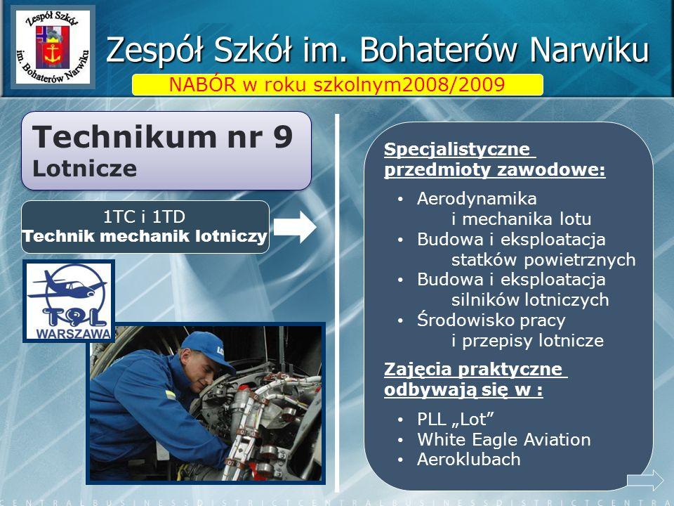Zespół Szkół im. Bohaterów Narwiku NABÓR w roku szkolnym2008/2009 Specjalistyczne przedmioty zawodowe: Aerodynamika i mechanika lotu Budowa i eksploat
