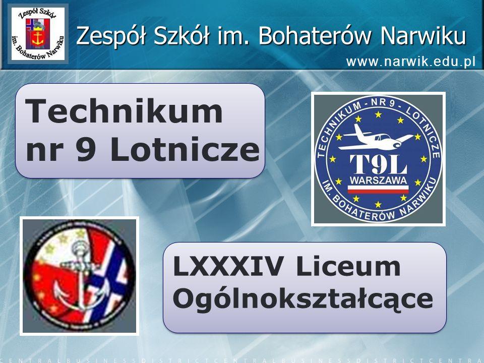 Technikum nr 9 Lotnicze Technikum nr 9 Lotnicze LXXXIV Liceum Ogólnokształcące LXXXIV Liceum Ogólnokształcące Zespół Szkół im. Bohaterów Narwiku www.n