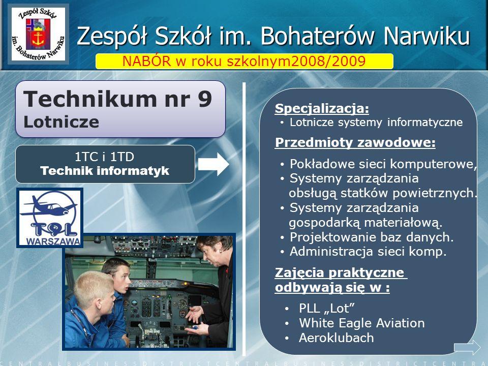 Zespół Szkół im. Bohaterów Narwiku NABÓR w roku szkolnym2008/2009 Specjalizacja: Lotnicze systemy informatyczne Przedmioty zawodowe: Pokładowe sieci k