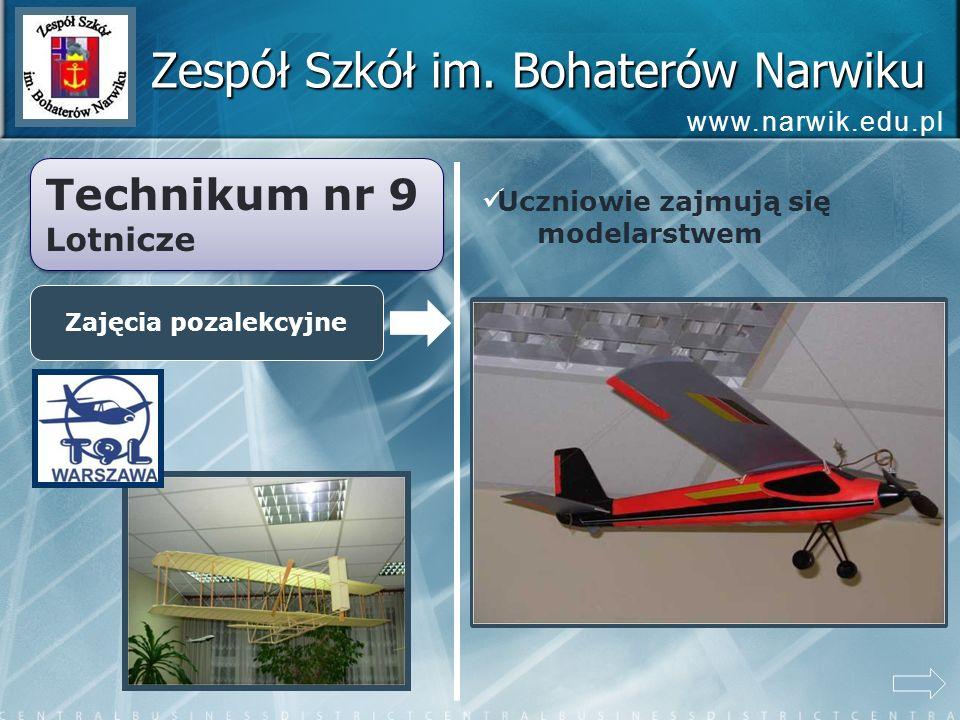 Zespół Szkół im. Bohaterów Narwiku Technikum nr 9 Lotnicze Technikum nr 9 Lotnicze Zajęcia pozalekcyjne Uczniowie zajmują się modelarstwem www.narwik.