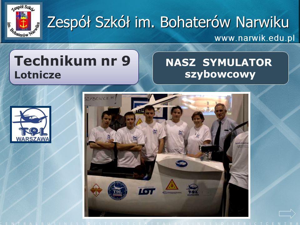 Zespół Szkół im. Bohaterów Narwiku Technikum nr 9 Lotnicze Technikum nr 9 Lotnicze NASZ SYMULATOR szybowcowy www.narwik.edu.pl