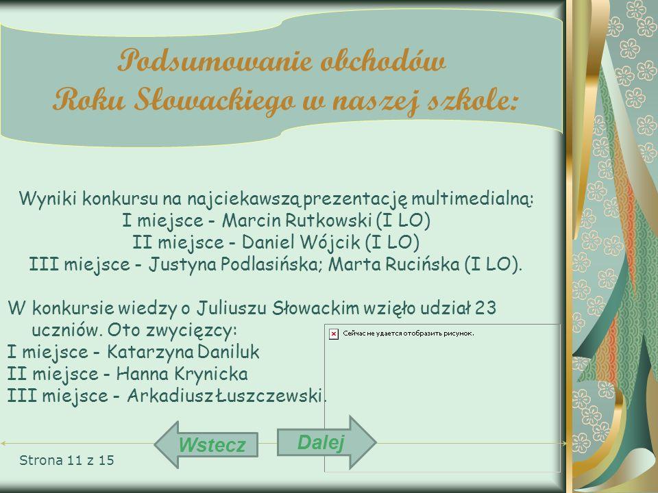 Strona 11 z 15 Podsumowanie obchodów Roku Słowackiego w naszej szkole: Wyniki konkursu na najciekawszą prezentację multimedialną: I miejsce - Marcin R