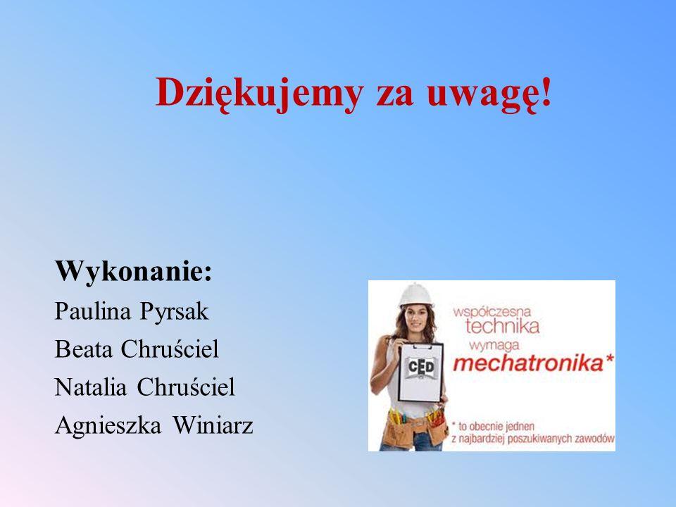 Dziękujemy za uwagę! Wykonanie: Paulina Pyrsak Beata Chruściel Natalia Chruściel Agnieszka Winiarz