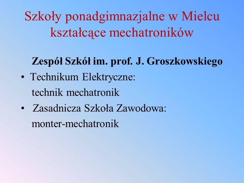 Szkoły ponadgimnazjalne w Mielcu kształcące mechatroników Zespół Szkół im. prof. J. Groszkowskiego Technikum Elektryczne: technik mechatronik Zasadnic