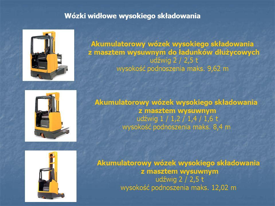 Wózki widłowe wysokiego składowania Akumulatorowy wózek wysokiego składowania z masztem wysuwnym do ładunków dłużycowych udźwig 2 / 2,5 t wysokość pod