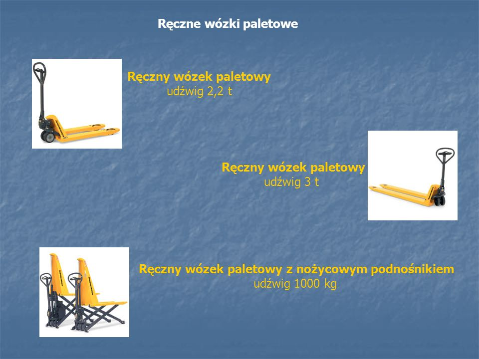 Ręczne wózki paletowe Ręczny wózek paletowy udźwig 2,2 t Ręczny wózek paletowy udźwig 3 t Ręczny wózek paletowy z nożycowym podnośnikiem udźwig 1000 k