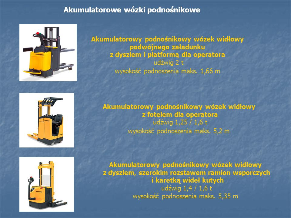 Akumulatorowe wózki unoszące Akumulatorowy unoszący wózek widłowy z fotelem dla operatora udźwig 2 / 3 t Akumulatorowy unoszący wózek widłowy z dyszlem udźwig 1,6 / 1,8 / 2 t Akumulatorowy unoszący wózek widłowy z dyszlem i platformą dla operatora udźwig 2 t