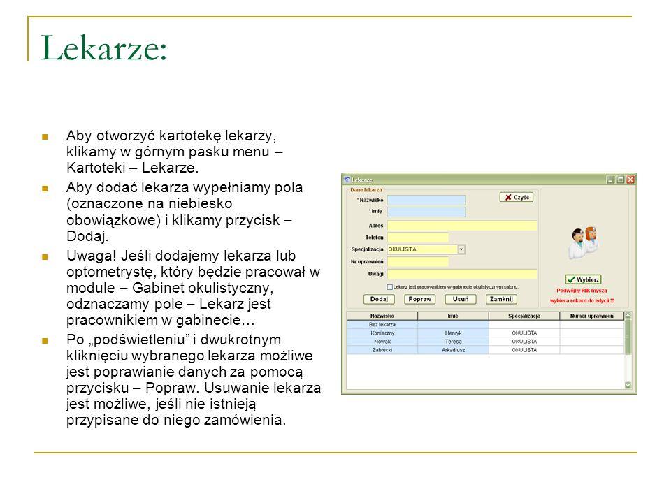 Dostawcy: W celu otwarcia okna – Dostawcy, klikamy w górnym pasku menu – Kartoteki – Dostawcy/Odbiorcy – Dostawcy W oknie tym gromadzi się dostawców, u których zaopatrujemy się w towar.
