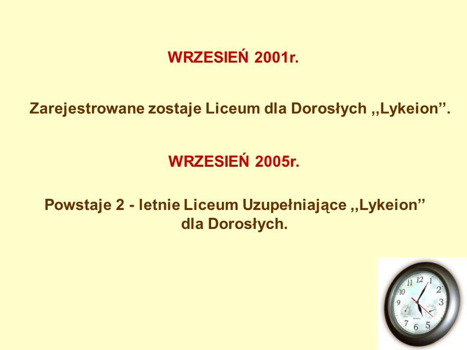 Zarejestrowane zostaje Liceum dla Dorosłych,,Lykeion. WRZESIEŃ 2001r. WRZESIEŃ 2005r. Powstaje 2 - letnie Liceum Uzupełniające,,Lykeion dla Dorosłych.
