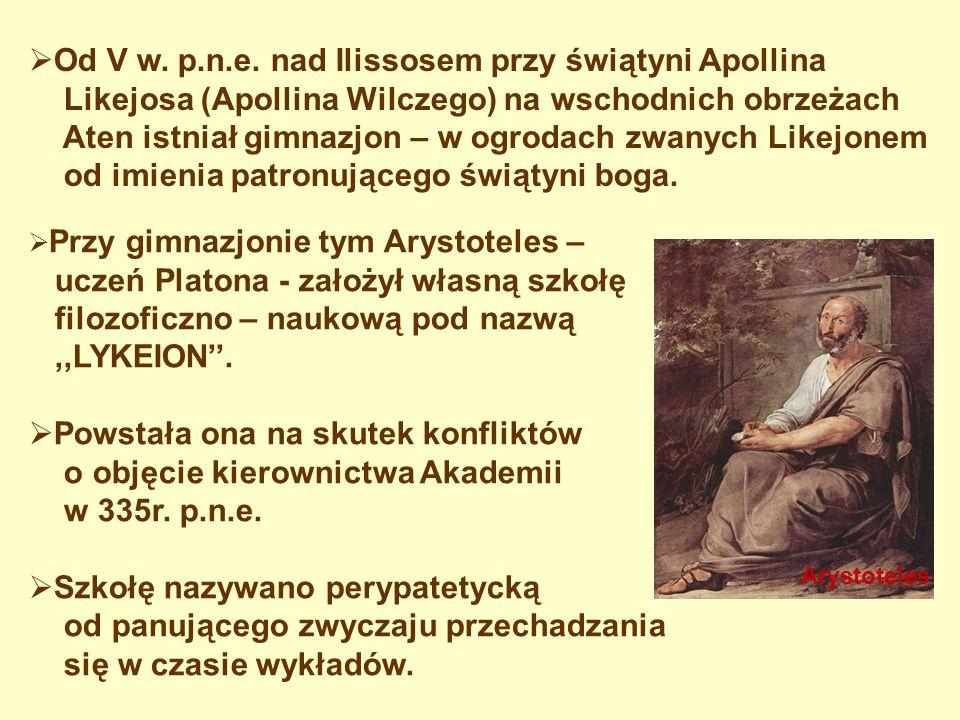 Od V w. p.n.e. nad Ilissosem przy świątyni Apollina Likejosa (Apollina Wilczego) na wschodnich obrzeżach Aten istniał gimnazjon – w ogrodach zwanych L