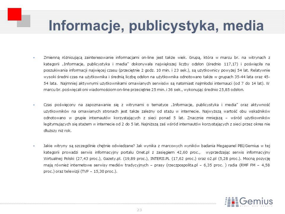 23 Informacje, publicystyka, media Zmienną różnicującą zainteresowanie informacjami on-line jest także wiek.