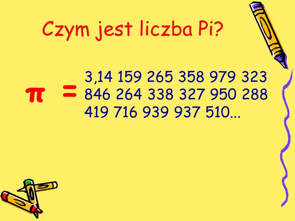 Czym jest liczba Pi? π = 3,14 159 265 358 979 323 846 264 338 327 950 288 419 716 939 937 510...