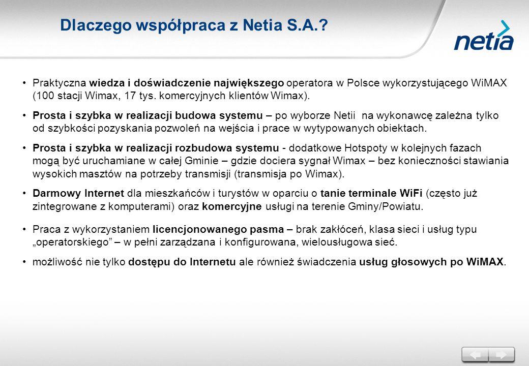 Praktyczna wiedza i doświadczenie największego operatora w Polsce wykorzystującego WiMAX (100 stacji Wimax, 17 tys. komercyjnych klientów Wimax). Pros