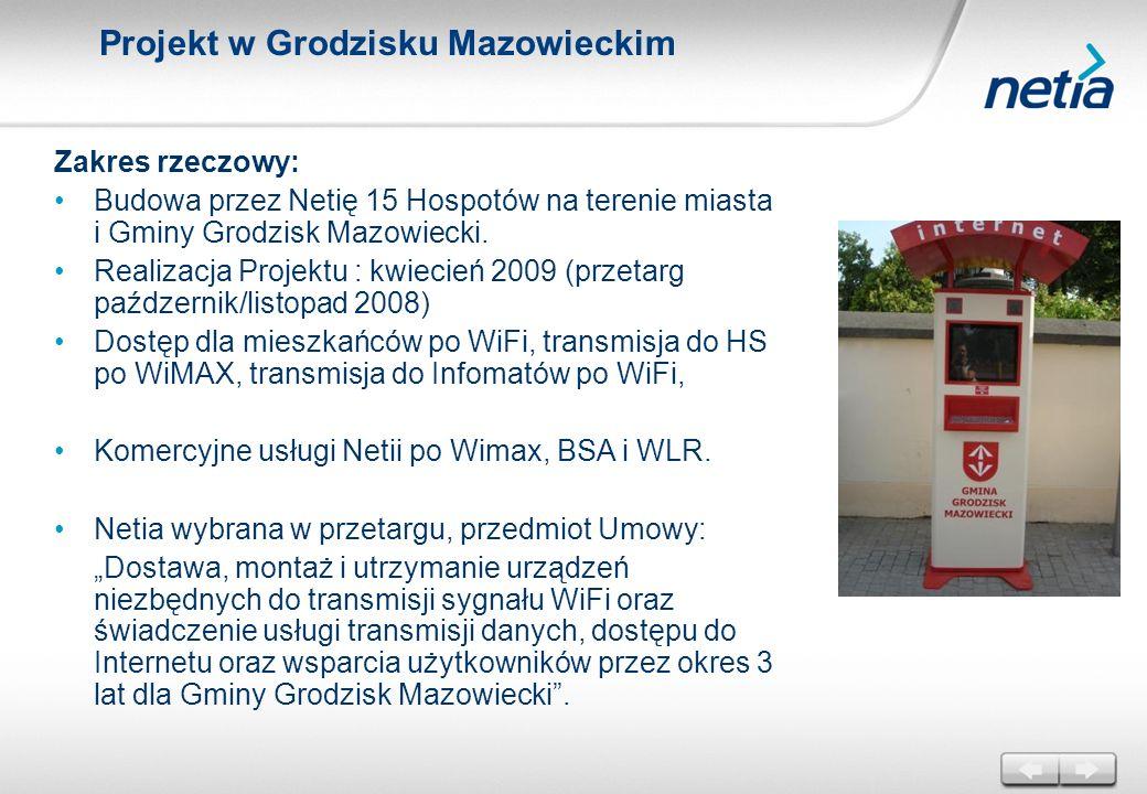 Projekt w Grodzisku Mazowieckim Zakres rzeczowy: Budowa przez Netię 15 Hospotów na terenie miasta i Gminy Grodzisk Mazowiecki. Realizacja Projektu : k