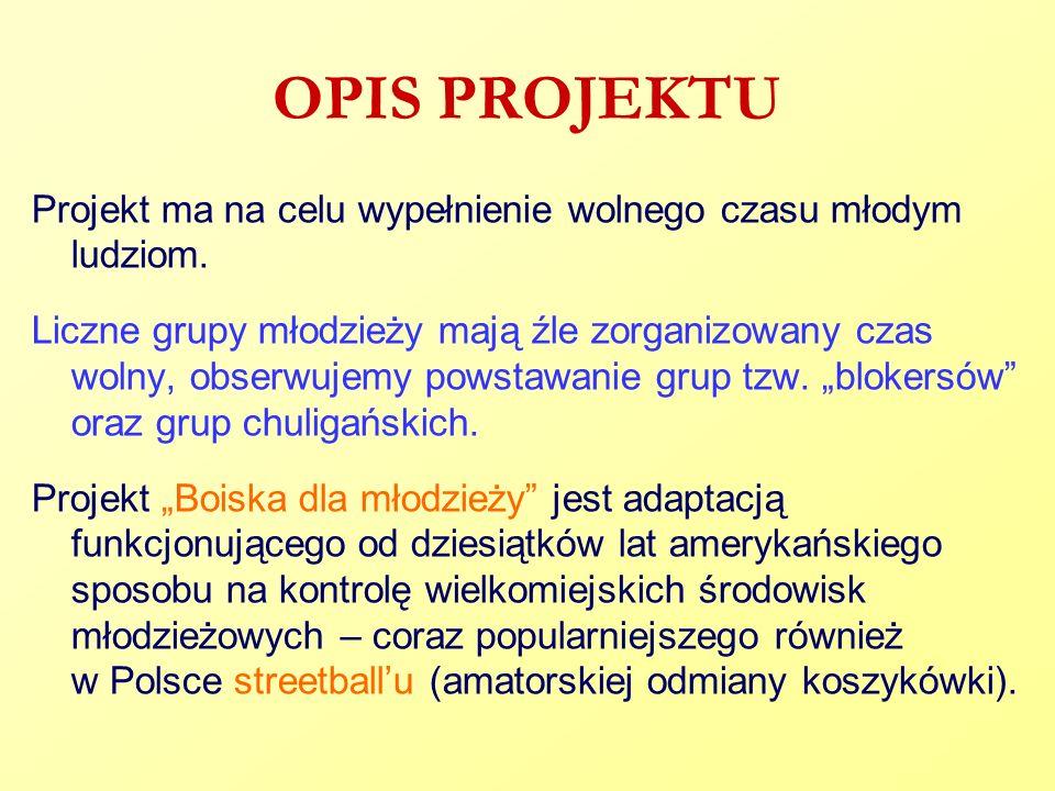 OPIS PROJEKTU Projekt ma na celu wypełnienie wolnego czasu młodym ludziom. Liczne grupy młodzieży mają źle zorganizowany czas wolny, obserwujemy powst
