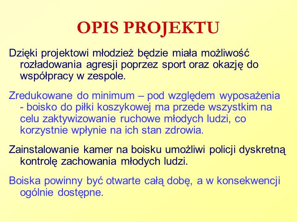 OPIS PROJEKTU Dzięki projektowi młodzież będzie miała możliwość rozładowania agresji poprzez sport oraz okazję do współpracy w zespole. Zredukowane do