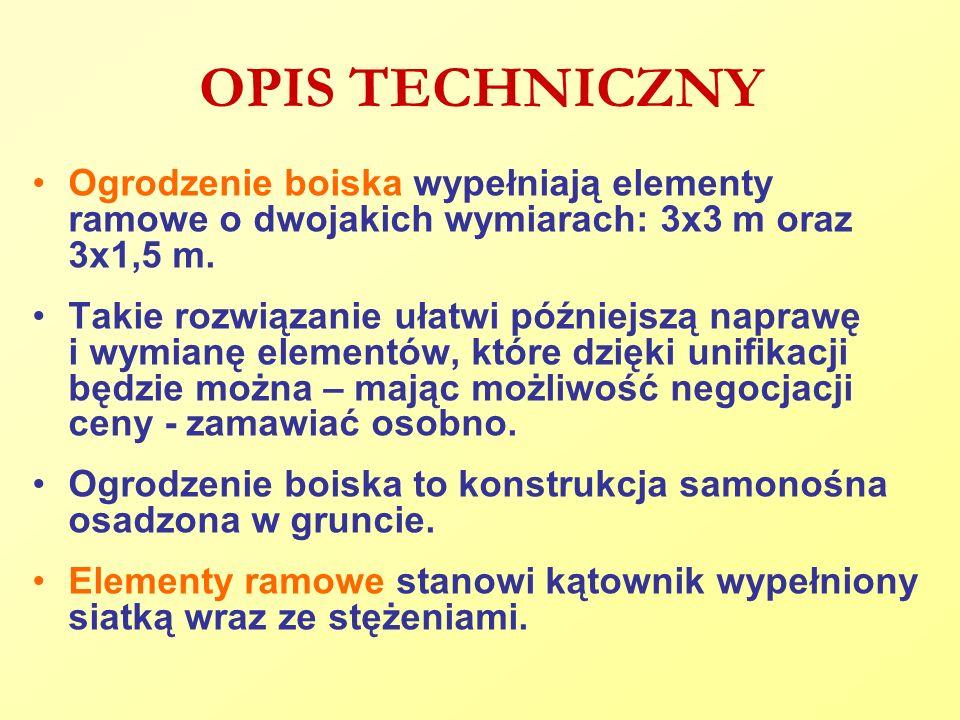 OPIS TECHNICZNY Ogrodzenie boiska wypełniają elementy ramowe o dwojakich wymiarach: 3x3 m oraz 3x1,5 m. Takie rozwiązanie ułatwi późniejszą naprawę i