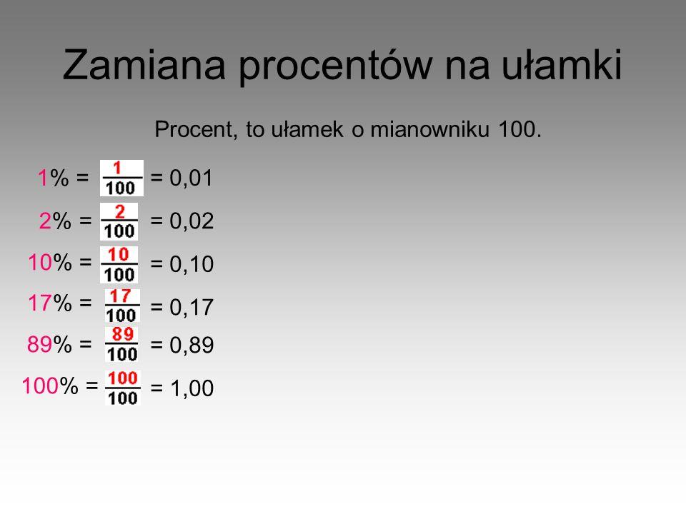 Zamiana ułamków na procenty Zamienić ułamek na procent możemy: - rozszerzając go tak, aby w mianowniku była liczba 100, 3 4 = 3 · 25 4 · 25 = 75 100 = 75% - skracając go tak aby w mianowniku była liczba 100, 300 400 = 300 : 4 400 : 4 = 75 100 = 75% - mnożąc go przez 100% 3 4 = 75 1 % = 75% · 100% 1 25