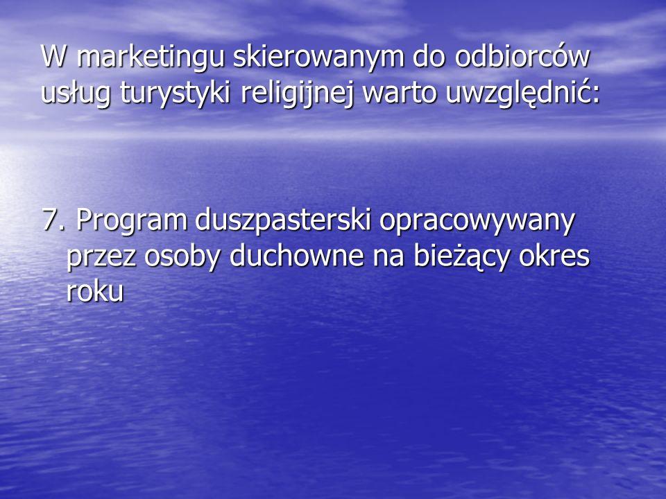 7. Program duszpasterski opracowywany przez osoby duchowne na bieżący okres roku W marketingu skierowanym do odbiorców usług turystyki religijnej wart