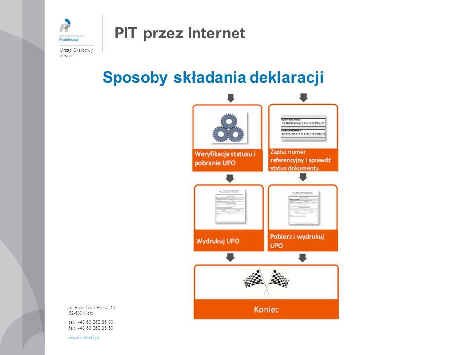 PIT przez Internet Sposoby składania deklaracji Urząd Skarbowy w Kole ul. Bolesława Prusa 10 62-600 Koło tel.: +48 63 262 85 00 fax: +48 63 262 85 50