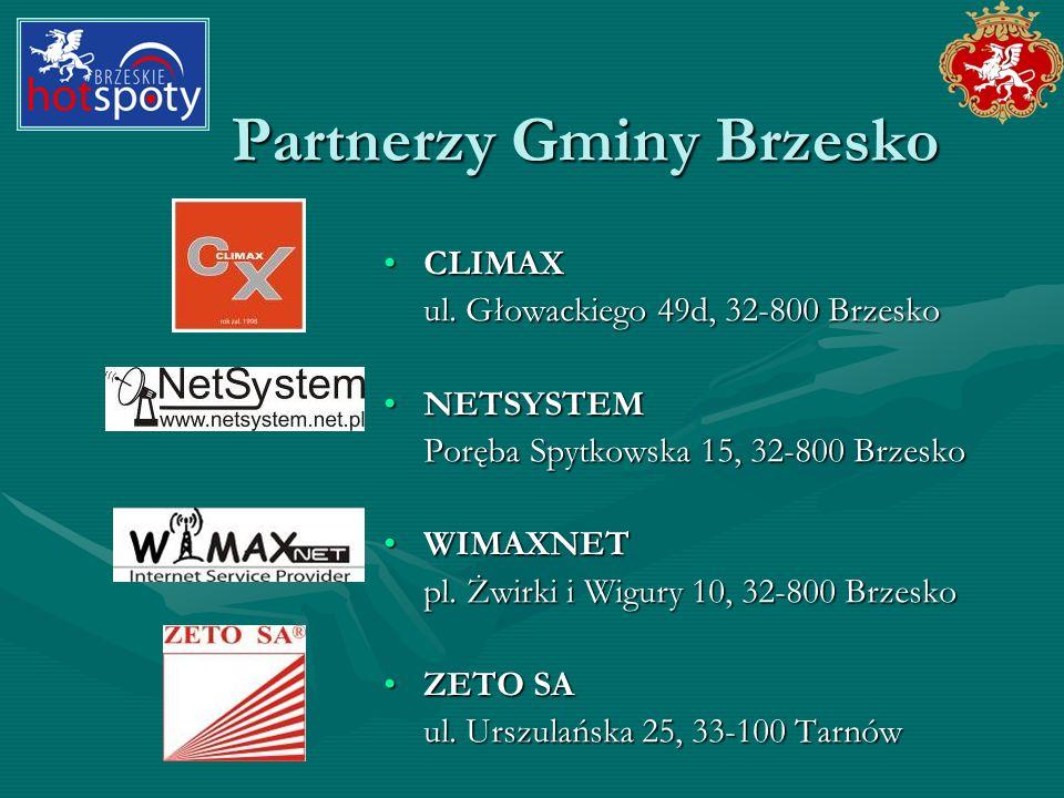 Partnerzy Gminy Brzesko CLIMAXCLIMAX ul. Głowackiego 49d, 32-800 Brzesko NETSYSTEMNETSYSTEM Poręba Spytkowska 15, 32-800 Brzesko WIMAXNETWIMAXNET pl.