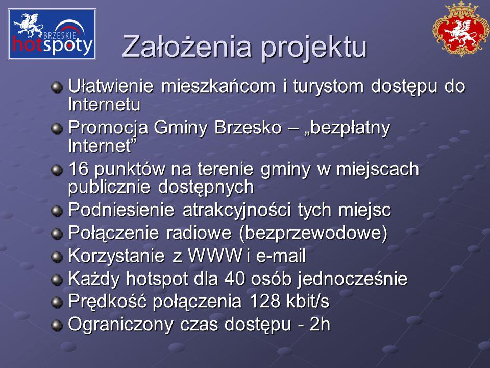 Założenia projektu Ułatwienie mieszkańcom i turystom dostępu do Internetu Promocja Gminy Brzesko – bezpłatny Internet 16 punktów na terenie gminy w mi