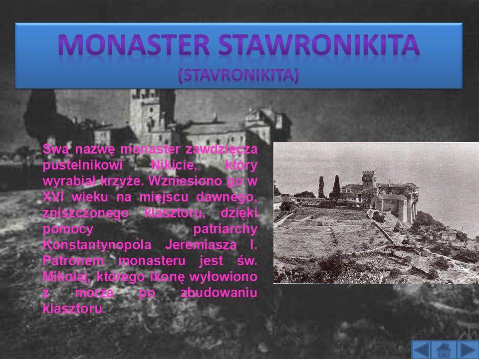 Swą nazwę monaster zawdzięcza pustelnikowi Nikicie, który wyrabiał krzyże. Wzniesiono go w XVI wieku na miejscu dawnego, zniszczonego klasztoru, dzięk