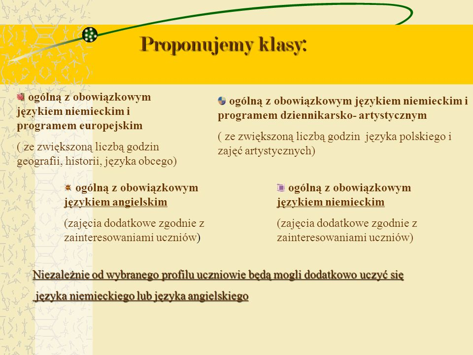 Proponujemy klasy: ogólną z obowiązkowym językiem niemieckim i programem europejskim ( ze zwiększoną liczbą godzin geografii, historii, języka obcego)