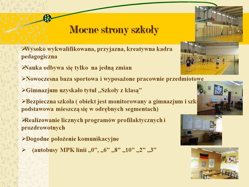 Mocne strony szko ł y Wysoko wykwalifikowana, przyjazna, kreatywna kadra pedagogiczna Nauka odbywa się tylko na jedną zmian Nowoczesna baza sportowa i
