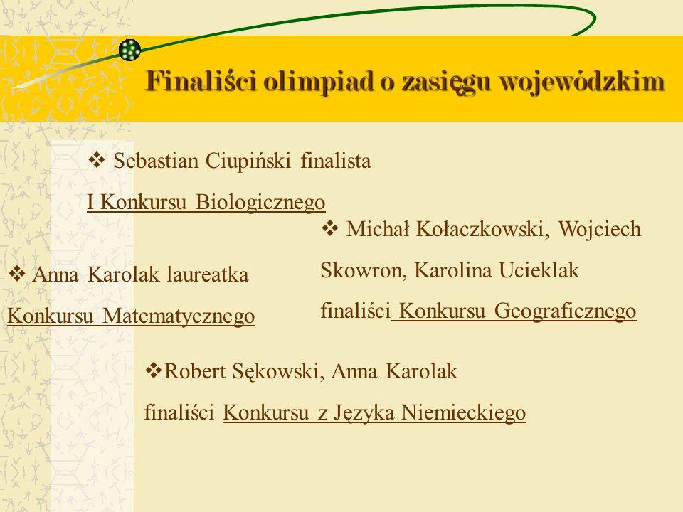 Finali ś ci olimpiad o zasi ę gu wojewódzkim Sebastian Ciupiński finalista I Konkursu Biologicznego Anna Karolak laureatka Konkursu Matematycznego Mic