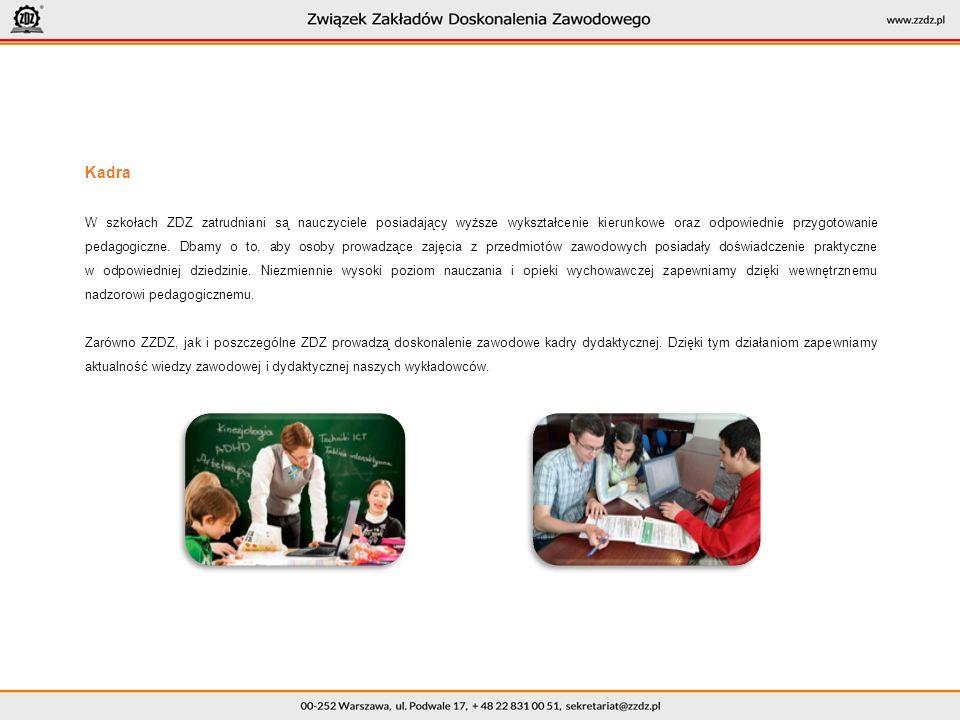 Kadra W szkołach ZDZ zatrudniani są nauczyciele posiadający wyższe wykształcenie kierunkowe oraz odpowiednie przygotowanie pedagogiczne.
