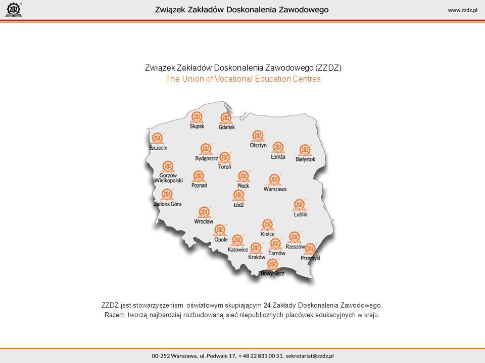 Związek Zakładów Doskonalenia Zawodowego (ZZDZ) The Union of Vocational Education Centres ZZDZ jest stowarzyszeniem oświatowym skupiającym 24 Zakłady Doskonalenia Zawodowego.