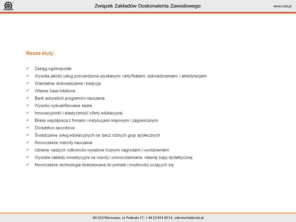 Nasze atuty: Zasięg ogólnopolski Wysoka jakość usług potwierdzona uzyskanymi certyfikatami, zaświadczeniami i akredytacjami Wieloletnie doświadczenie i tradycja Własna baza lokalowa Bank autorskich programów nauczania Wysoko wykwalifikowana kadra Innowacyjność i elastyczność oferty edukacyjnej Bliska współpraca z firmami i instytucjami krajowymi i zagranicznymi Doradztwo zawodowe Świadczenie usług edukacyjnych na rzecz różnych grup społecznych Nowoczesne metody nauczania Uznanie naszych odbiorców wyrażone licznymi nagrodami i wyróżnieniami Wysokie nakłady inwestycyjne na rozwój i unowocześnianie własnej bazy dydaktycznej Nowoczesne technologie dostosowane do potrzeb i możliwości uczących się