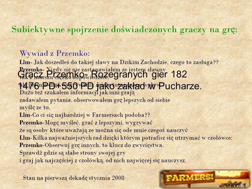 Subiektywne spojrzenie do ś wiadczonych graczy na gr ę : Gracz Przemko- Rozegranych gier 182 1476 PD+550 PD jako zakład w Pucharze.
