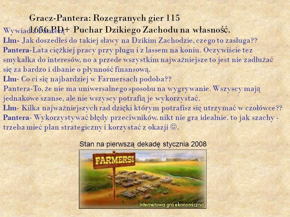 Gracz-Pantera: Rozegranych gier 115 1656 PD+ Puchar Dzikiego Zachodu na własno ść. Wywiad z Panter ą Llm- Jak doszedłe ś do takiej sławy na Dzikim Zac