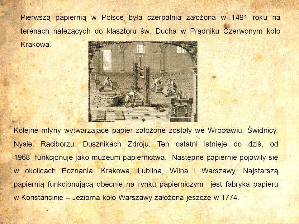 Kolejne młyny wytwarzające papier założone zostały we Wrocławiu, Świdnicy, Nysie, Raciborzu, Dusznikach Zdroju. Ten ostatni istnieje do dziś, od 1968