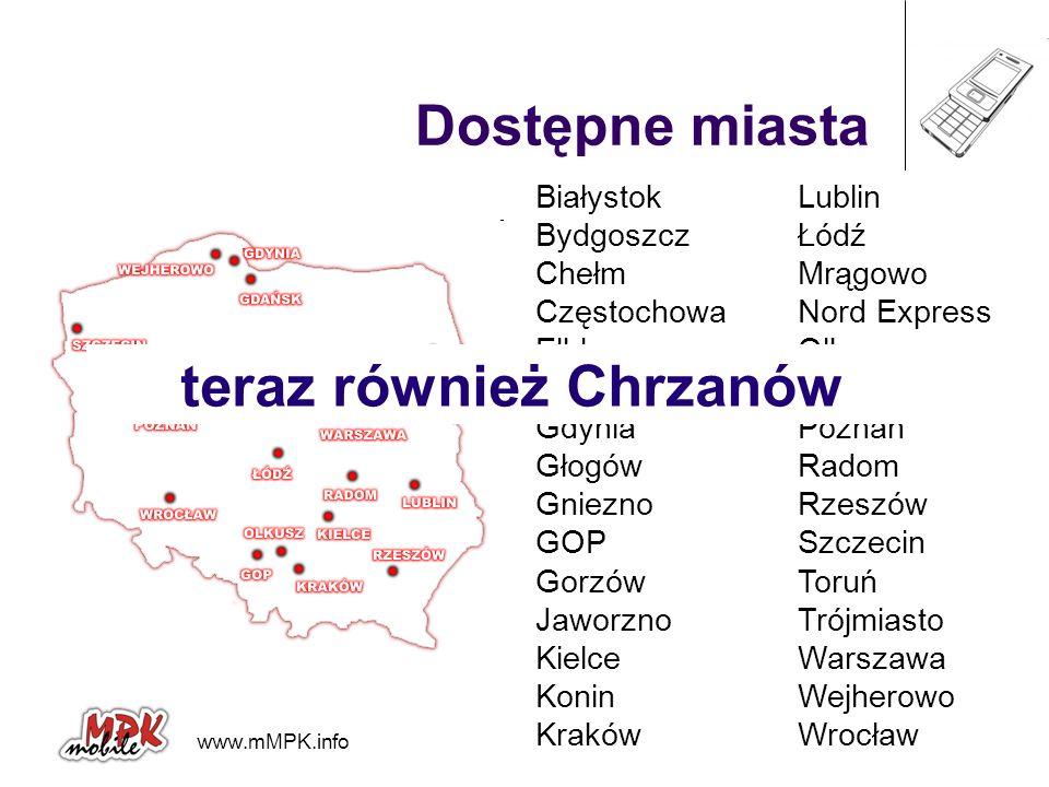 www.mMPK.info mobiCORE Dostępne miasta Białystok Bydgoszcz Chełm Częstochowa Elbląg Gdańsk Gdynia Głogów Gniezno GOP Gorzów Jaworzno Kielce Konin Krak