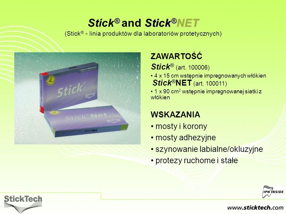 ® Stick ® NET Stick ® and Stick ® NET (Stick ® - linia produktów dla laboratoriów protetycznych) ZAWARTOŚĆ Stick ® (art. 100006) 4 x 15 cm wstępnie im