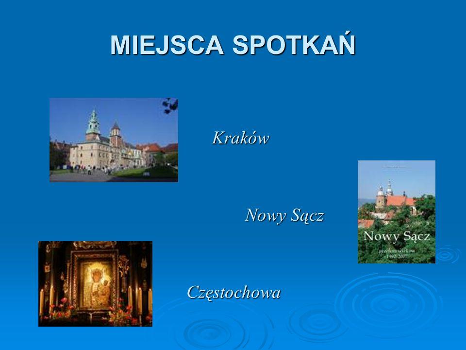 Kraków Nowy Sącz Częstochowa MIEJSCA SPOTKAŃ